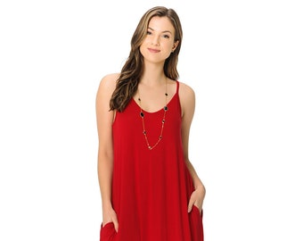 b9249a99052 Spaghetti Strap Low Back Harem Maxi Dress with Pockets Red