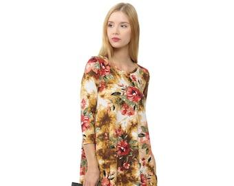 a758bc077 Print Trapeze Swing Dress Floral Mustard Tie Dye