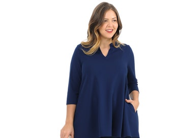 2fc6277e6baee Plus Size A-Line Tunic Top with Mao Collar Navy