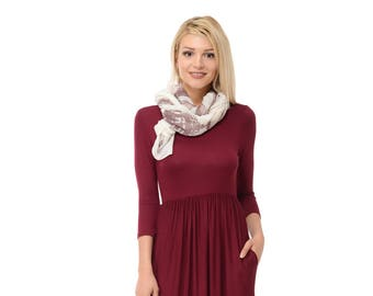 Fit and Flare Midi Dress with Pockets Burgundy Solid