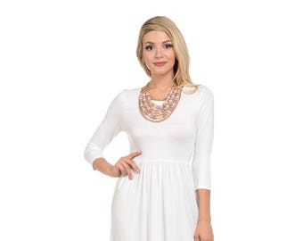 Fit and Flare Midi Dress with Pockets Ivory Solid