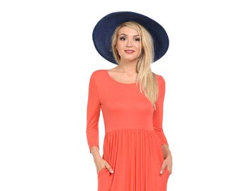 Fit and Flare Midi Dress with Pockets Coral Solid