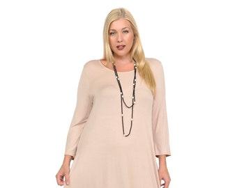 9cb365e4b6 Plus Size Cocoon Midi Dress Mocha