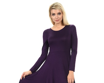 Long Sleeve Fit and Flare Midi Dress Purple