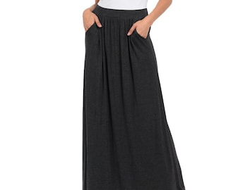10c7fc0821 Maxi Skirt with Elastic Waistband and Pockets Charcoal