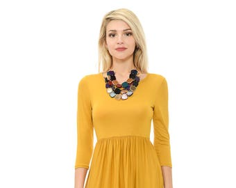 Fit and Flare Midi Dress with Pockets Mustard Solid