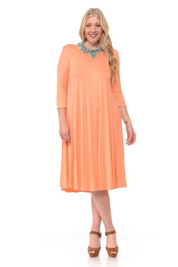 Plus Size A-Line Trapeze Midi Dress Magenta