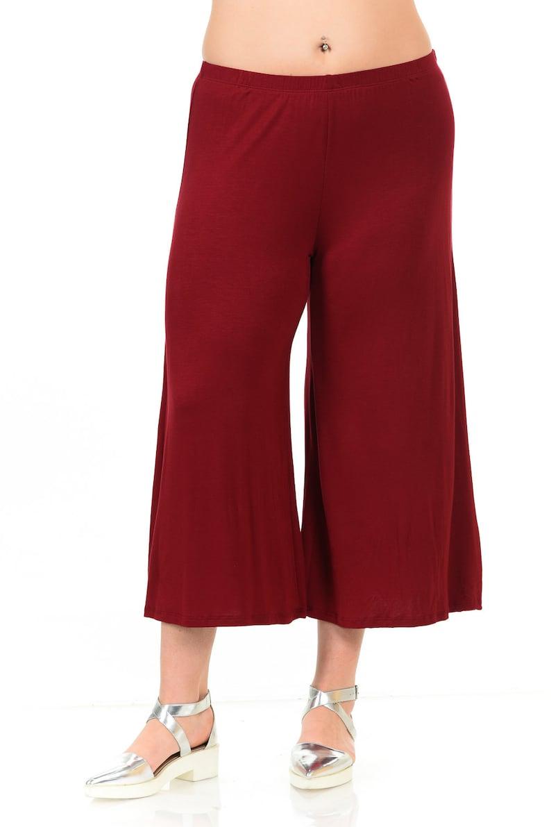 Plus Size Elastic Waist Wide Leg Crop Culottes Pants Burgundy | Etsy