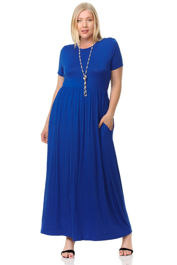 Plus Size Short Sleeve Maxi Dress with Pockets Royal Blue
