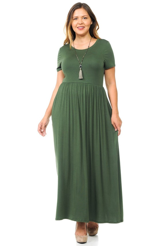 Plus Size Short Sleeve Maxi Dress with Pockets Olive