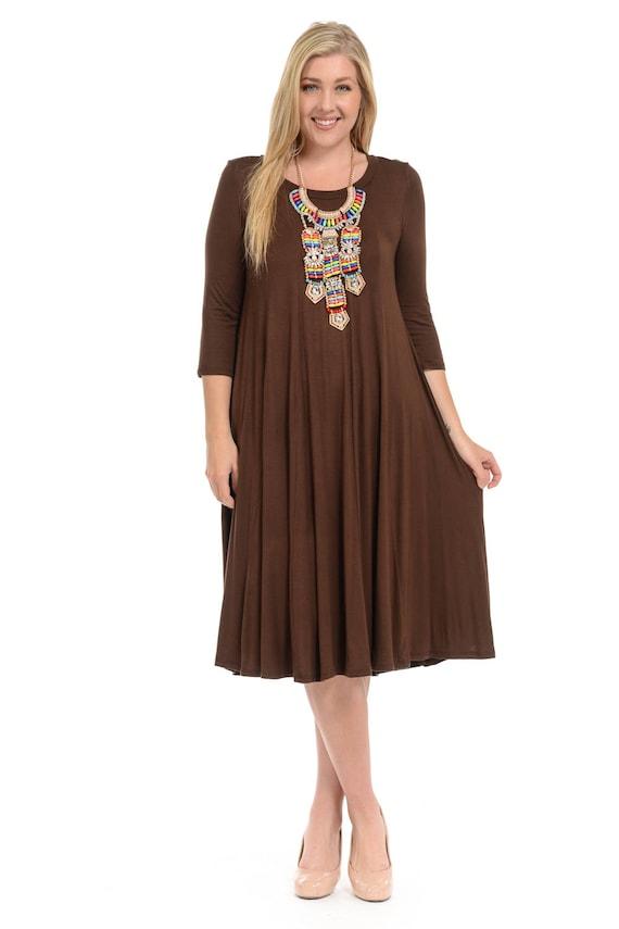 Plus Size A Line Trapeze Midi Dress Brown Etsy