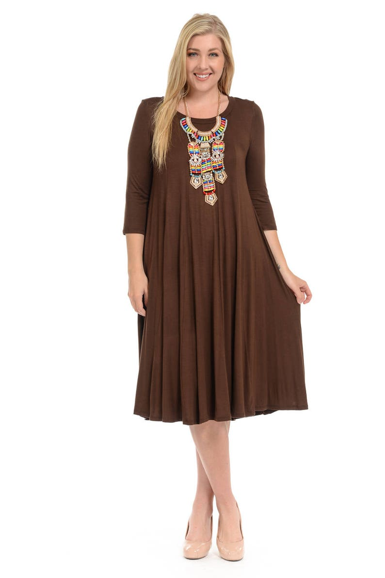 Plus Size A-Line Trapeze Midi Dress Brown