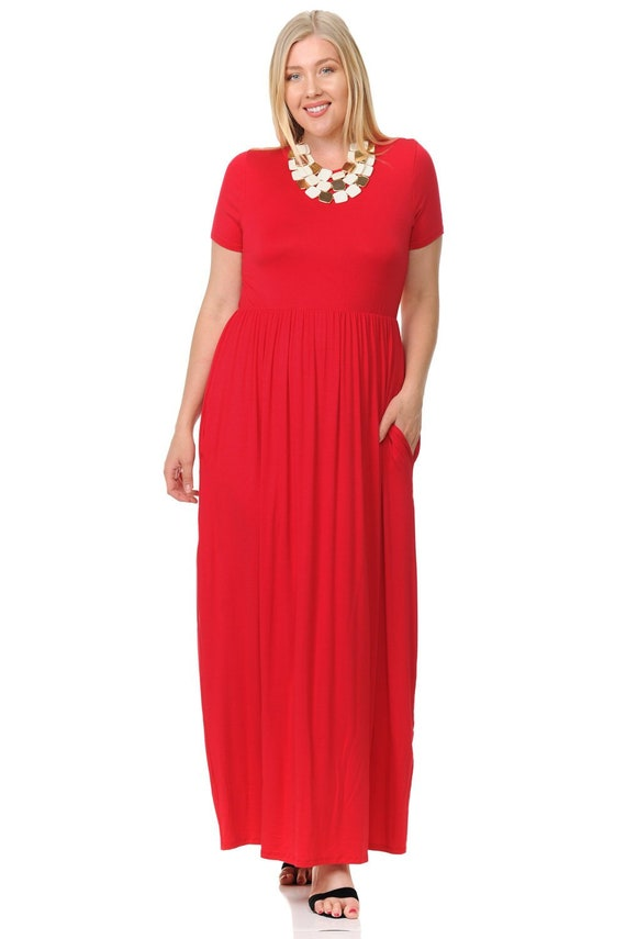 Plus Size Short Sleeve Maxi Dress with Pockets Red