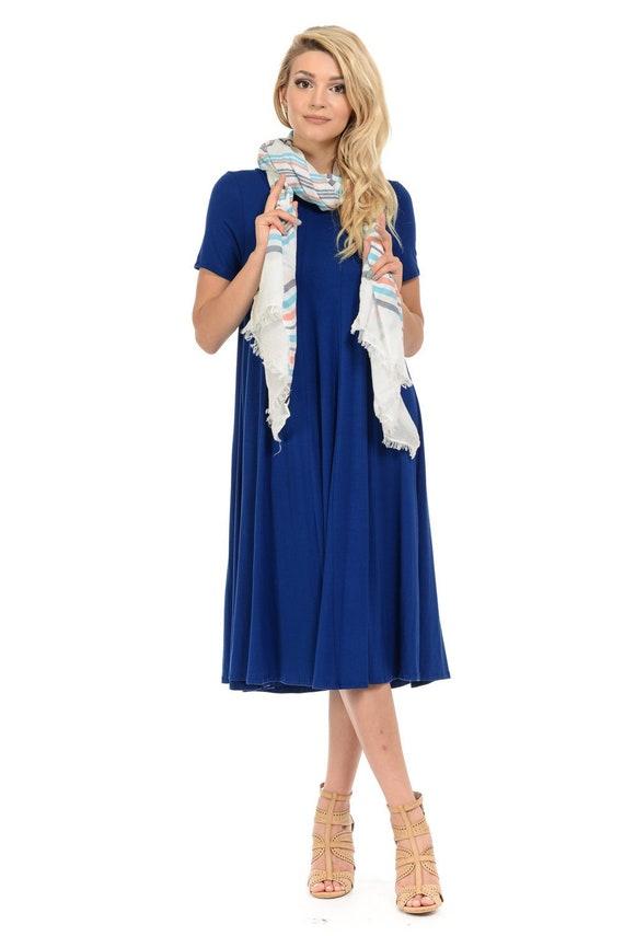 4dc54e1d2470 Short Sleeve A-Line Paneled Midi Dress Royal Blue