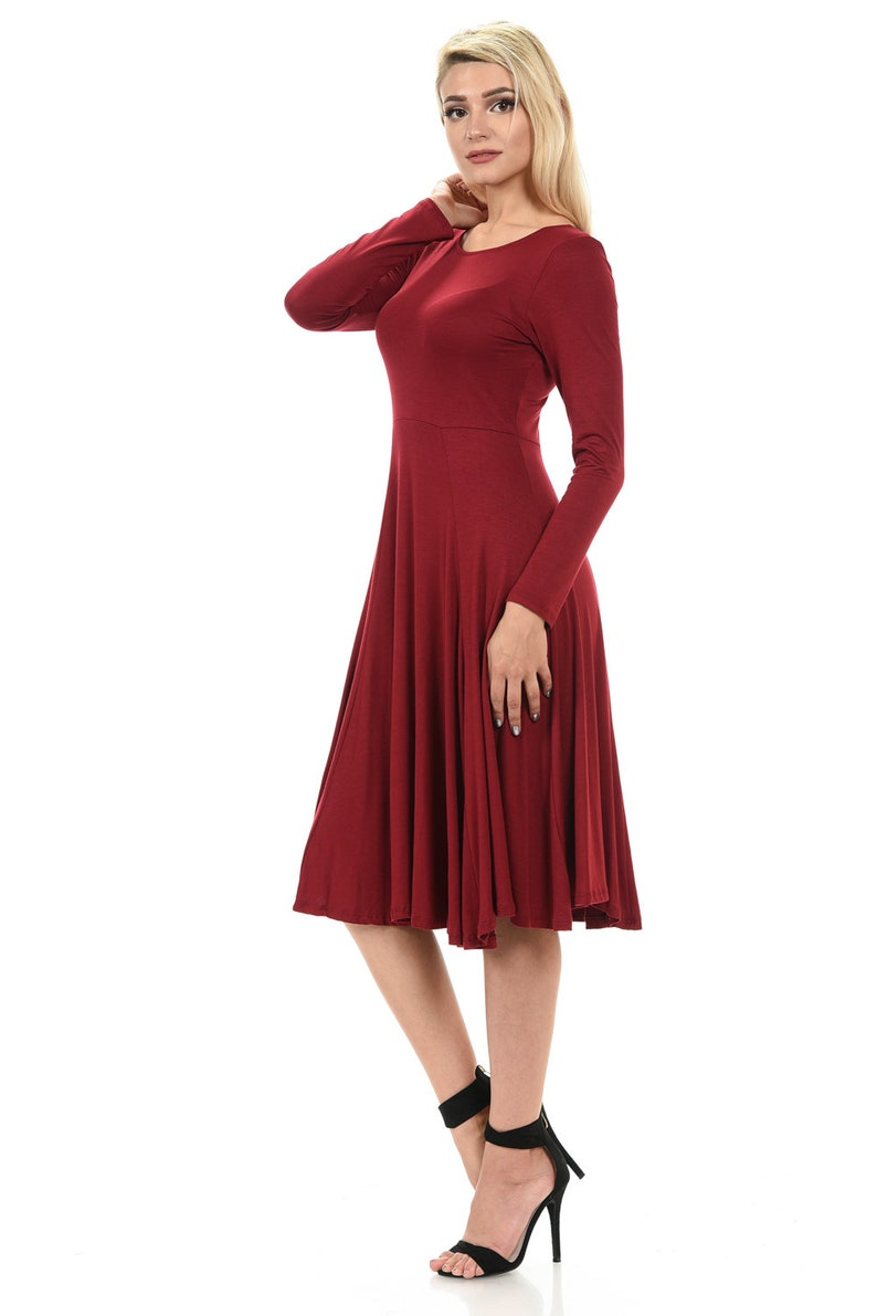 c31493d387 Long Sleeve Fit and Flare Midi Dress Burgundy
