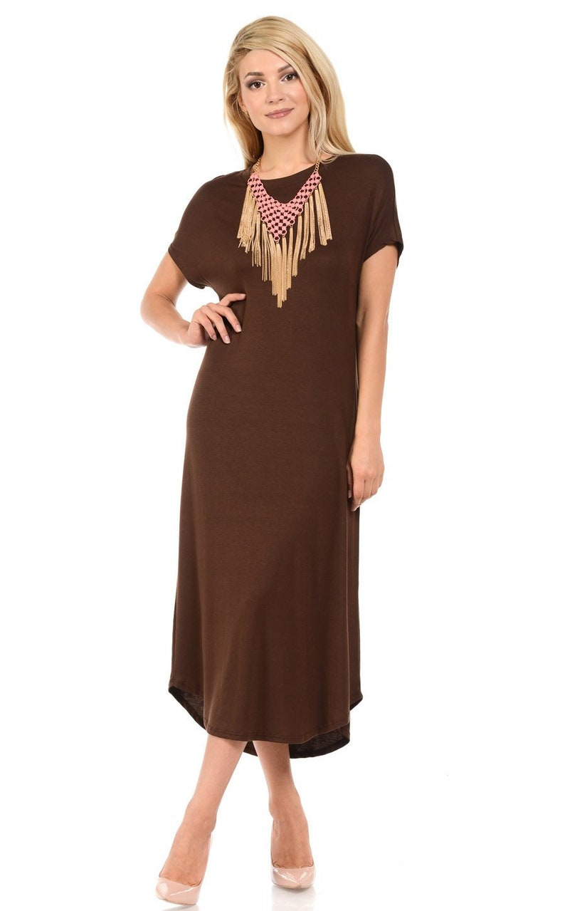 108edabb687f A-Line Short Sleeve Midi Dress Brown