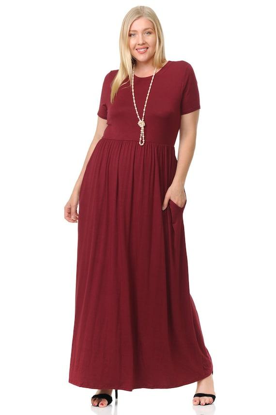 Plus Size Short Sleeve Maxi Dress with Pockets Burgundy