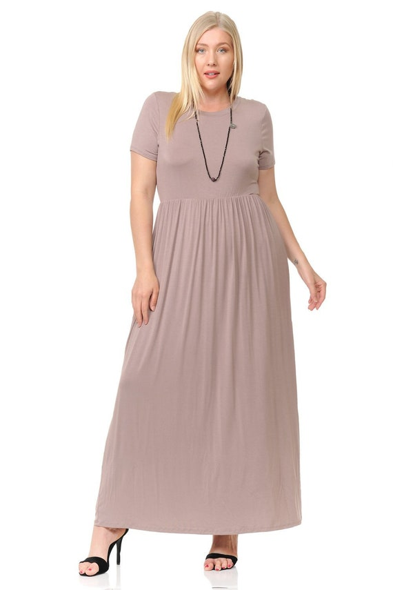 Plus Size Short Sleeve Maxi Dress with Pockets Taupe
