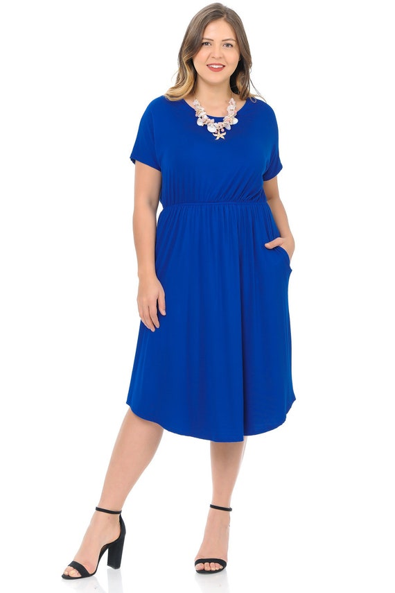 Plus Size Midi Dress with Pockets and Elastic Waist Royal Blue