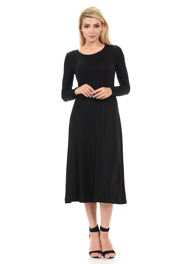 1e37b7b8216 Manches longues a-ligne mi-longue robe noire