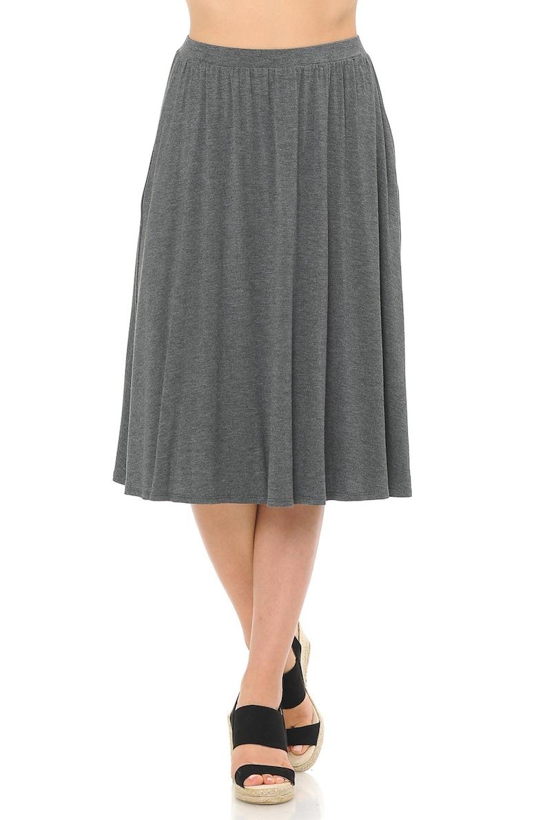 Midi Skirt with Pockets Charcoal