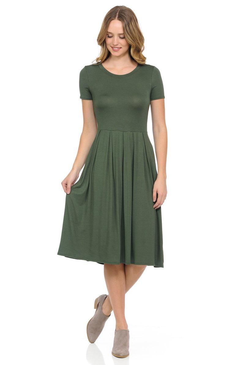 Short Sleeve Pleated Midi Dress with Pockets Olive