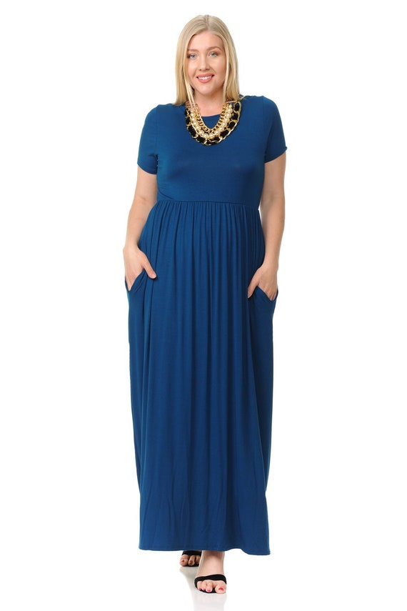 Plus Size Short Sleeve Maxi Dress with Pockets Teal