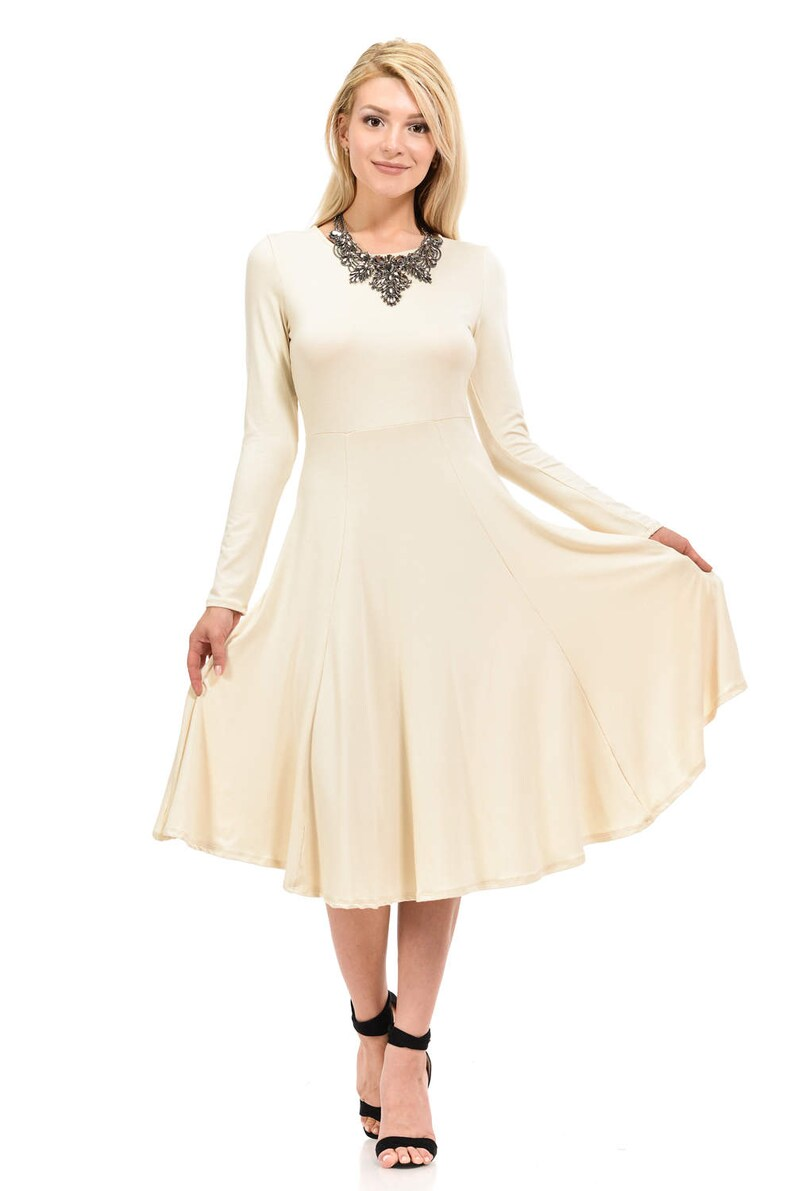303d6368dc75 Long Sleeve Fit and Flare Midi Dress Cream