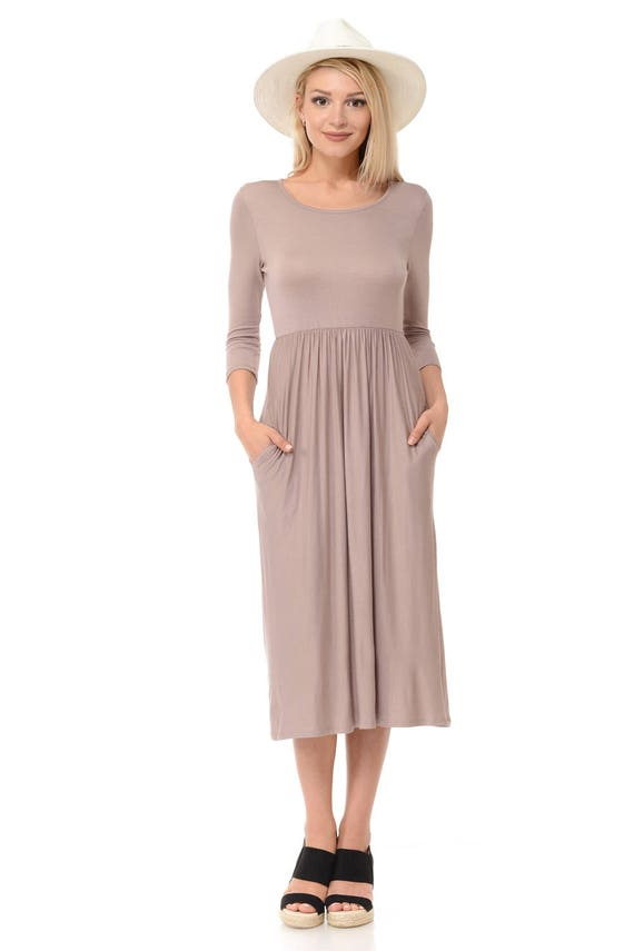 Fit and Flare Midi Dress with Pockets Taupe Solid