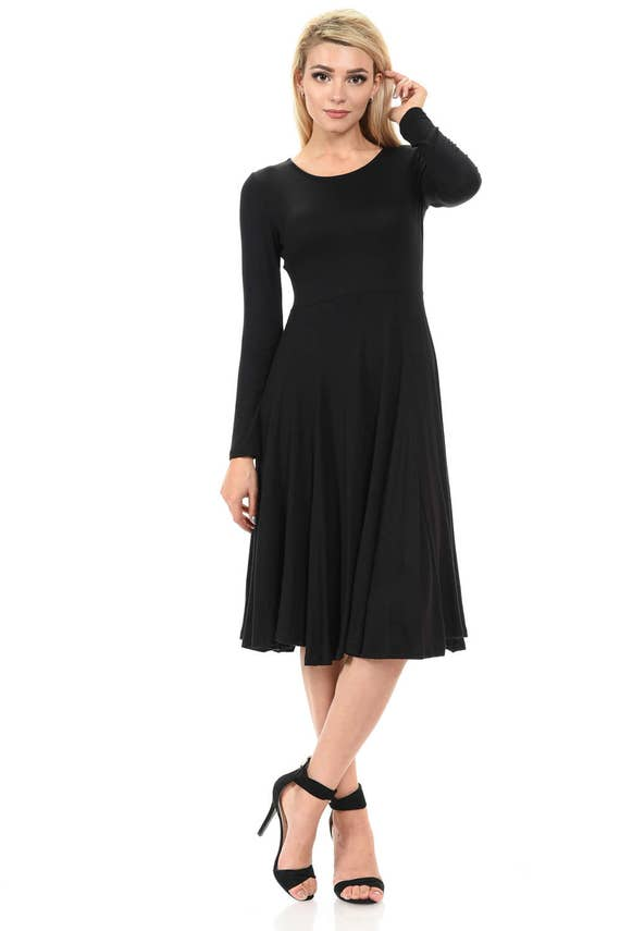 Long Sleeve Fit And Flare Midi Dress Black Etsy