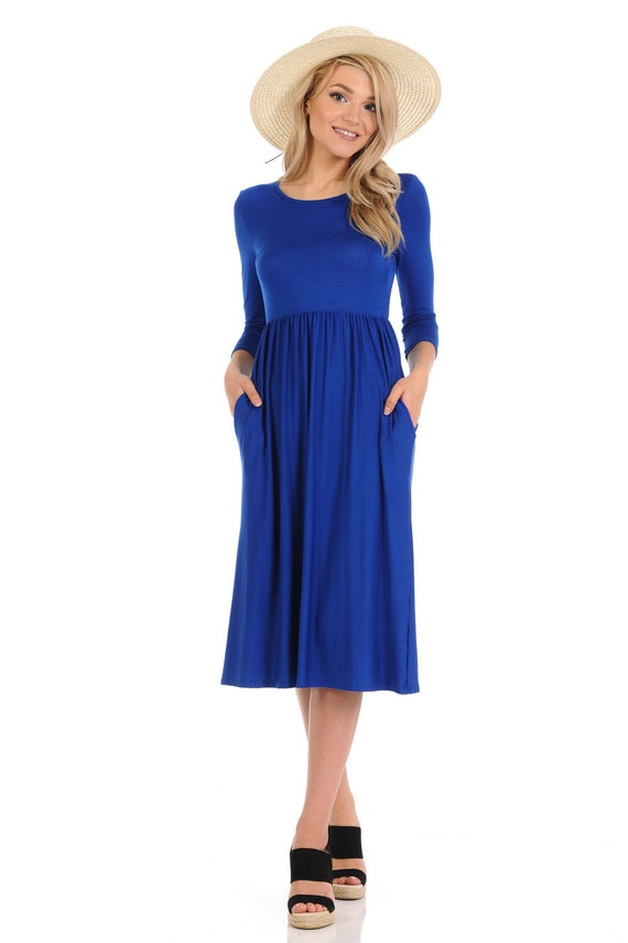 Fit and Flare Midi Dress with Pockets Royal Blue