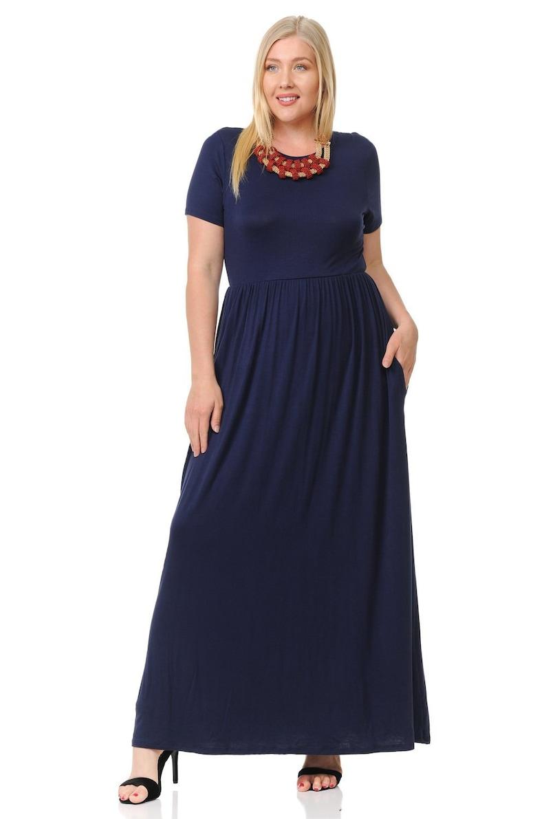 Plus Size Short Sleeve Maxi Dress with Pockets Navy