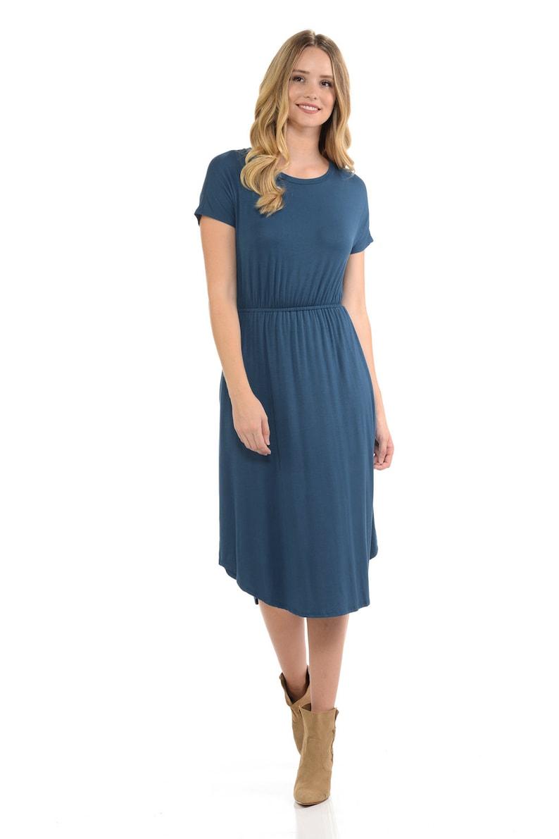 Short Sleeve Flare Midi Dress with Pockets Denim