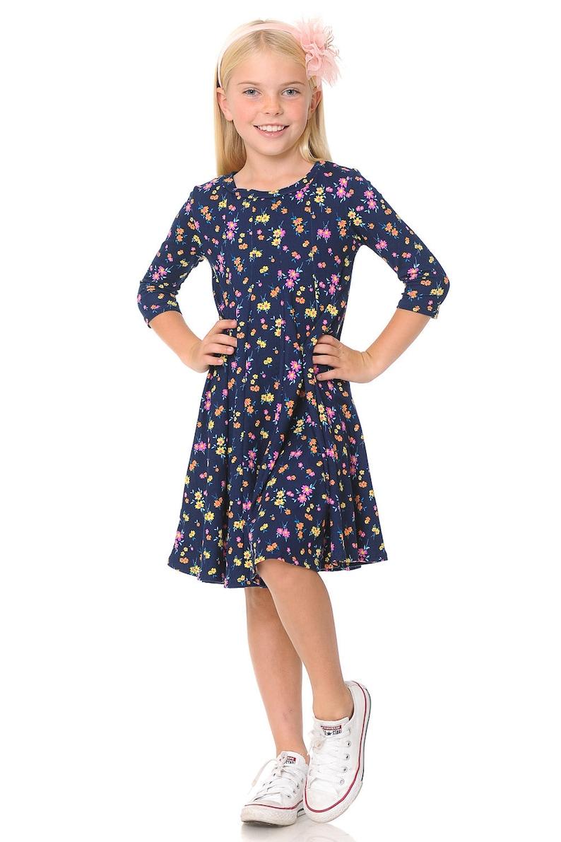Honey Vanilla Girls/' A-Line Trapeze Dress Floral Navy Fuchsia