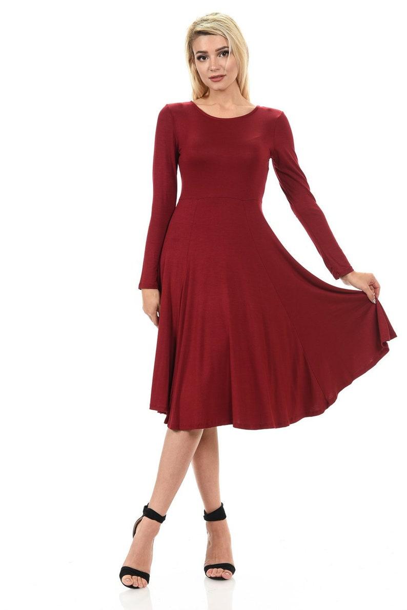 4ca3ca27e49 Long Sleeve Fit and Flare Midi Dress Burgundy | Etsy