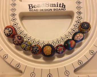 Set of 9 Clay Beads