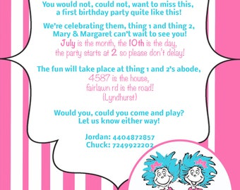 Thing 1 2 Invitations