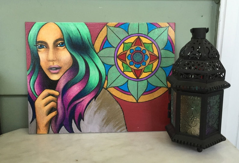 9x12 in Bohemian mandala soft colored pencil woman drawing prismacolor in burgundy on canvas board with purple and gold blue pink green