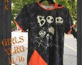 Peek-a-Boo Shoulder, cold shoulder, Jack Skellington inspired, one of a kind custom girls shirt
