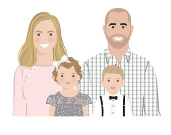 family portrait portrait drawing cartoon portraits etsy