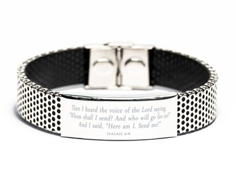 bible Verse Bracelet,stainless Steel Bracelet,isaiah 6 8,then I Heard The Voice Of The Lord Saying,christian Bracelet,religious