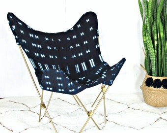 Indigo Mudcloth Butterfly Chair / African Bogolanfini Navy Blue White Gold Frame Organic Woven Cotton Natural Dye Foldable Collapsible Chair