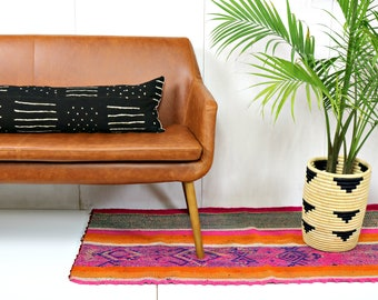 Black and White Extra Long Lumbar Mud Cloth Pillow Cover / Striped Mudcloth Throw Cushion Global Textile Various Custom Lumbar Artisan Woven