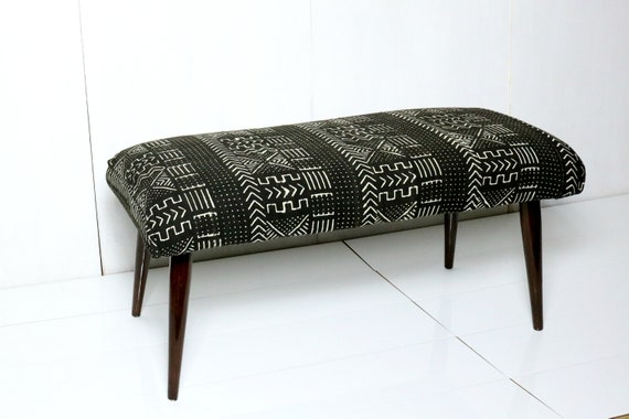 Black And White Mud Cloth Bench / African Mudcloth Ottoman   Etsy