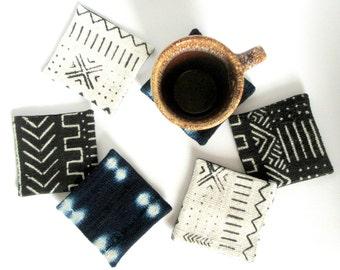 Mudcloth Coasters / African Mud Cloth Mug Rugs Bogolanfini Ethnic Home Decor Unique Housewarming Gift Organic Natural Dyes Hand Spun Printed
