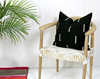Black Minimalist Mud Cloth Pillow Cover / Line Print Decorative Throw Cushion Global Textile Various Sizes Custom Euro Lumbar Artisan Woven