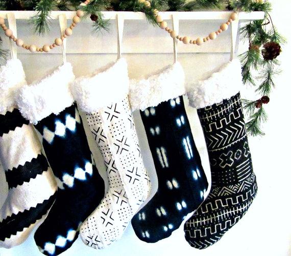 Black And White Christmas Stockings.Mudcloth Christmas Stockings African Mud Cloth Shearling Indigo Black White Striped Natural Dye Ornament Bogolanfini Holiday Decor Linen