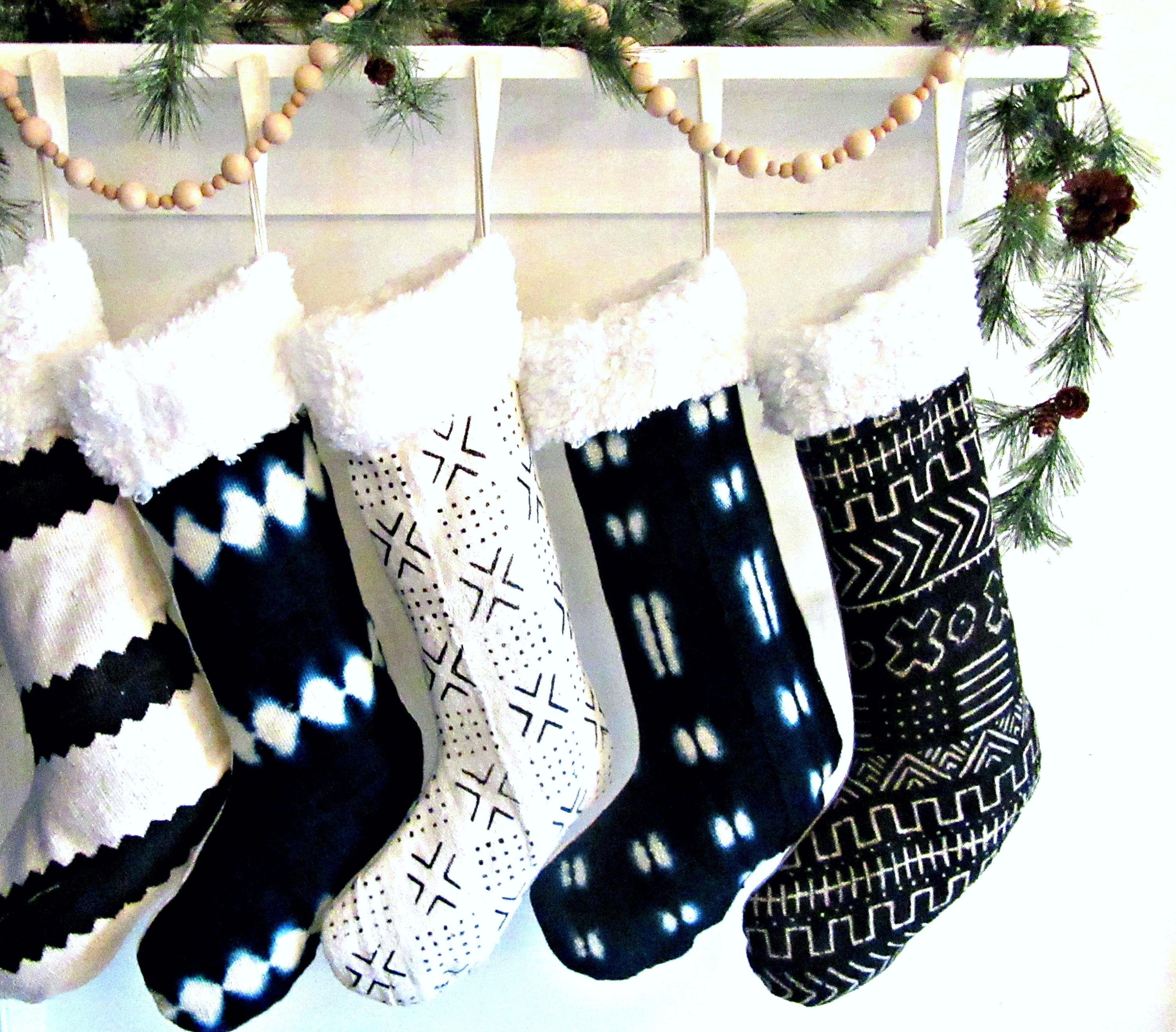 Mudcloth Christmas Stockings African Mud Cloth Shearling Etsy