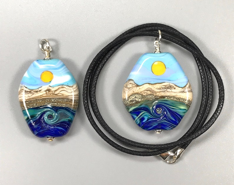 Made To Order Blue Green H2O Sun Lampwork Glass Bead Necklace w Sterling Silver