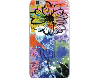 Bunny Flower 01A Digital Painting Watercolor Acrylic Paints iPhone Case